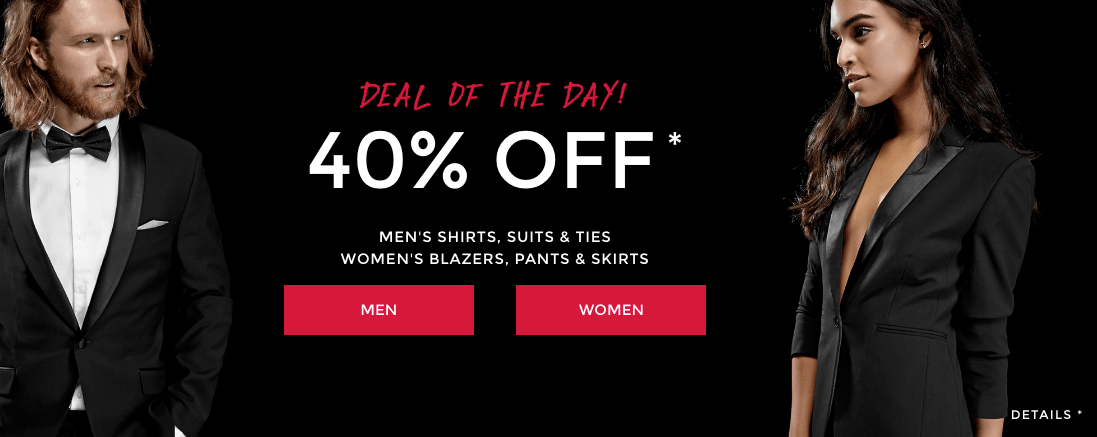 RW&Co. Canada Deals: Today Only Save 40% On Men's Shirts, Suits, Ties +  40% Off Women's Blazers, Pants, Skirts