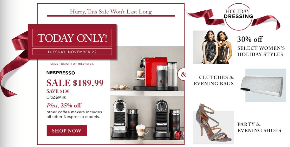 Hudson's Bay Canada Black Friday 1-Day Sales: Save 41% off Nespresso CitiZ&Milk Coffee Maker, Today For $189.99 & 25% off Other Coffee Makers!