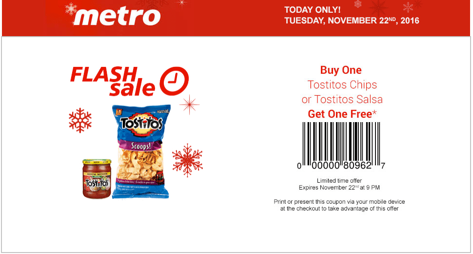 Metro Canada Flash Sale Coupons: Buy One Tostitos Chips or Tostitos Salsa, Get One FREE