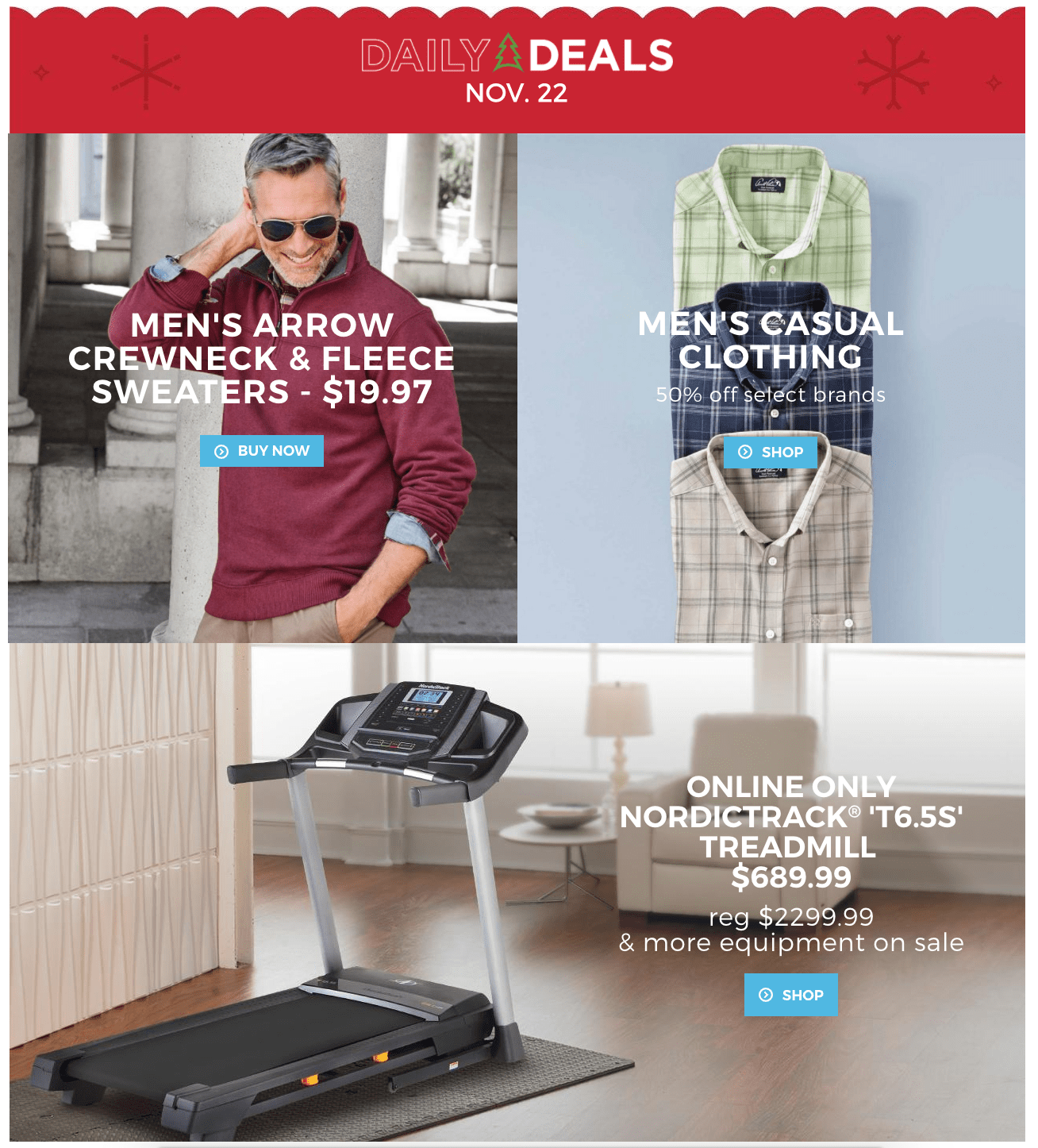 Sears Canada Daily Deals: Save $210 Off NordicTrack T6.5S Treadmill & Other Fitness Equipment + 50% Off Men's Casual Clothing + $19.97 Sweaters