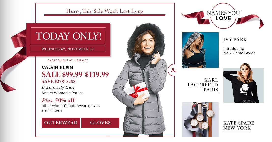 Hudson's Bay Canada Black Friday 1-Day Sales: Save 72% on Select Calvin Klein Women's Parkas, Today for $99.99 – 119.99, 50% Off Other Women's Outerwear, Gloves & Mittens
