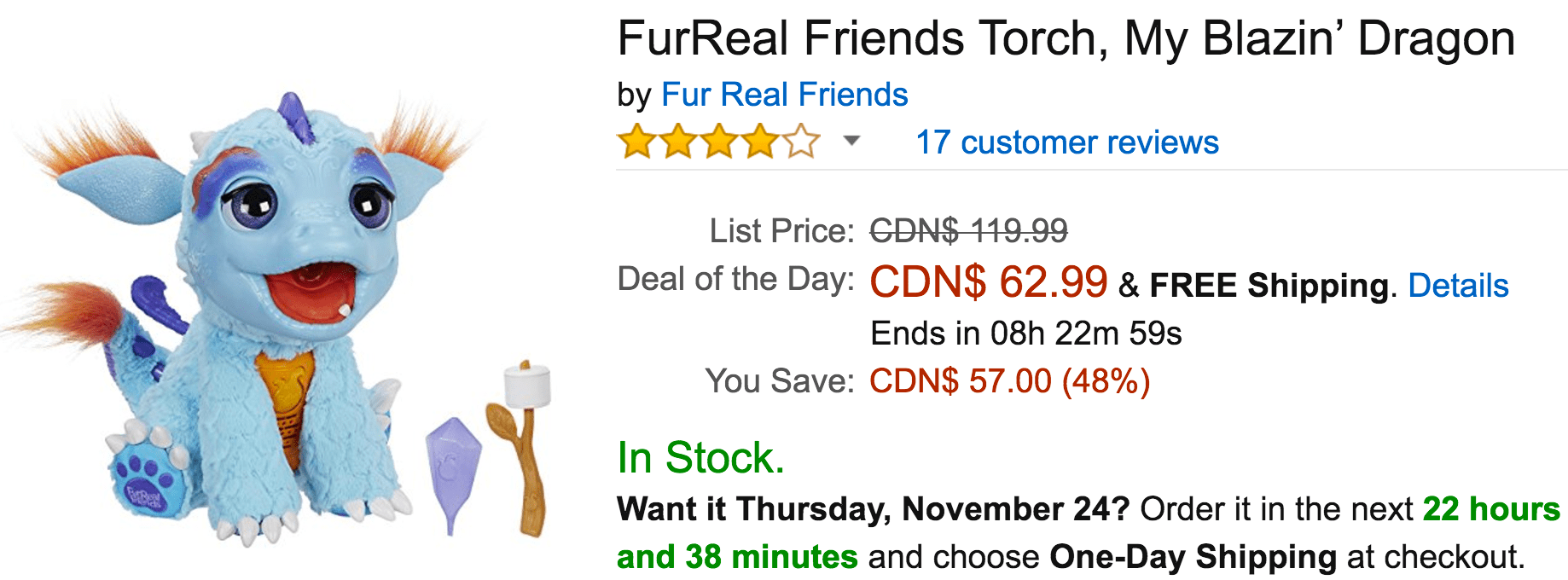 Amazon Canada Black Friday Deals: Save 48% on FurReal Friends Torch, My Blazin' Dragon, 57% on Select Furby, Torch and FurReal Friend Toys & More