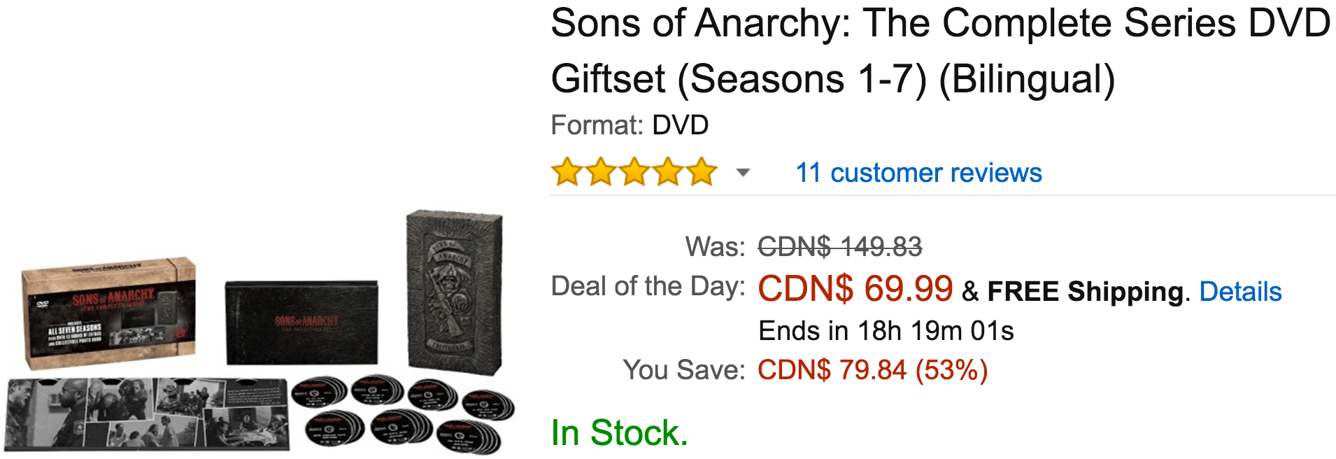 Amazon Canada Black Friday Deals: Save 53% Off Sons of Anarchy: The Complete Series, 57% on Brita Water Filter, 48% on Select Moana, Frozen, and Disney Princess Toys