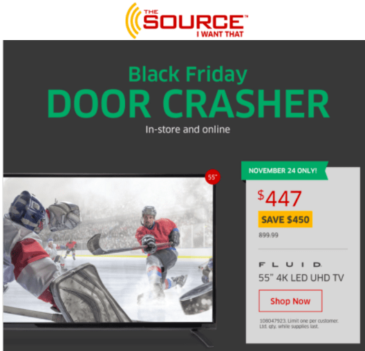 """The Source Canada Black Friday 2016 Door Crasher: Save 50% On Fluid 55"""" 4K UHD LED TV, Today For $447 & More Offers *LIVE*"""