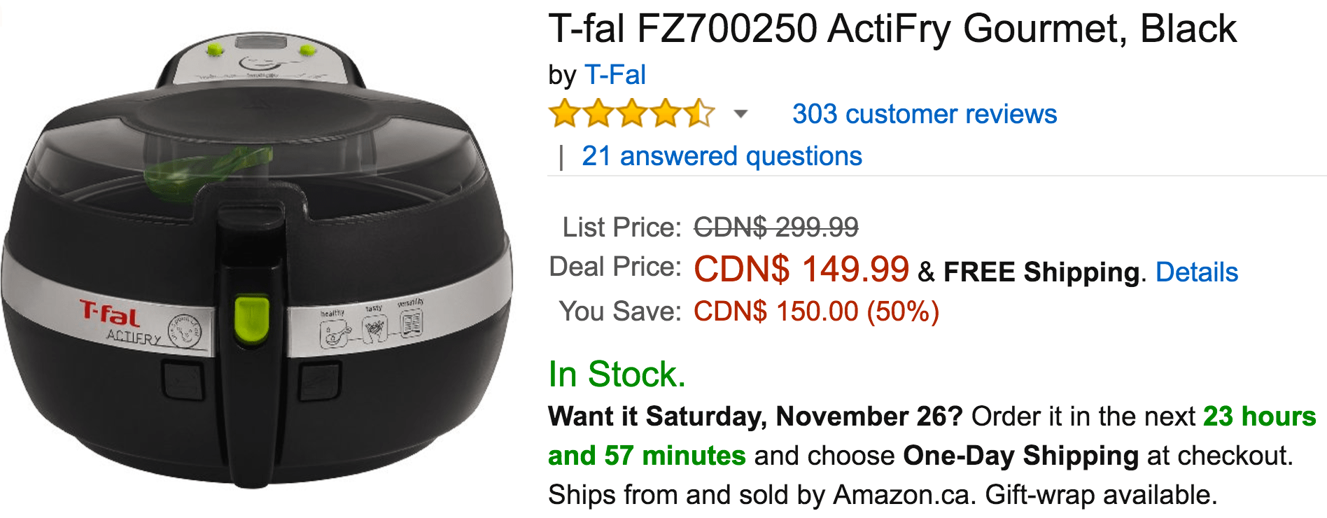 Amazon Canada Black Friday 2016 Deals: Save 50% Off T-fal ActiFry Gourmet, Black, Today for $149.99