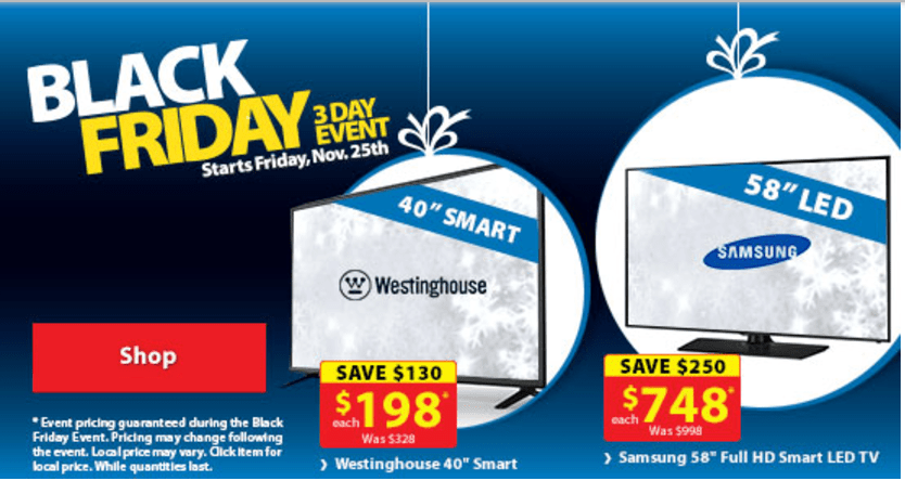 Walmart Canada Black Friday 2016, 3-Day Event + 4-Day Gaming Event