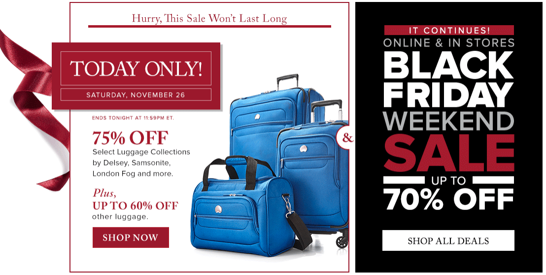 Hudson's Bay Today Only Deals: Save 75% Off Select Luggage by Samsonite, Delsey, Swiss Wenger & More + Black Friday Weekend Sale