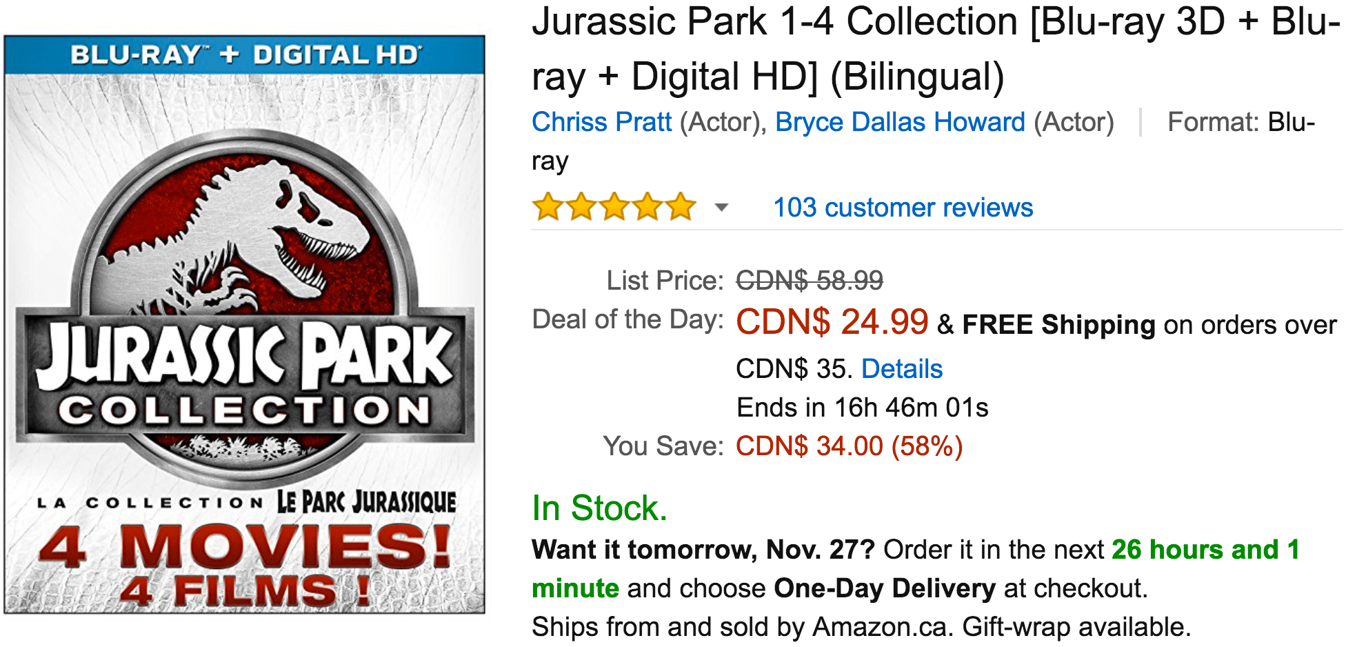 Amazon Canada Black Friday Deals: Save 58% Off Jurassic Park 1-4 Collection, 25% on Xbox One S 500GB Console – FIFA 17 Bundle & More Offers