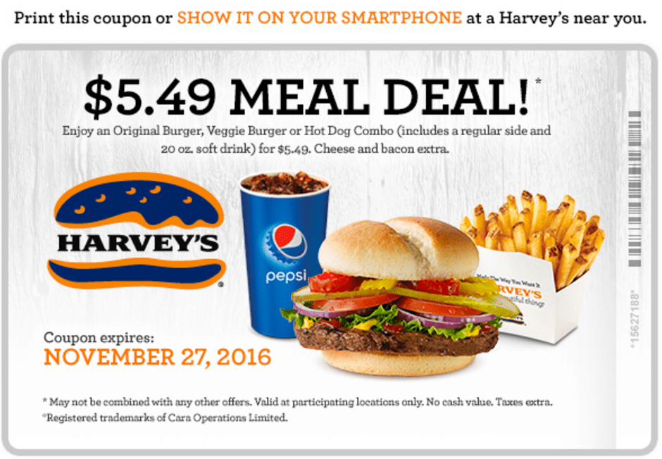 Harvey's Canada Black Friday Coupon: $5.49 Meal Deal!