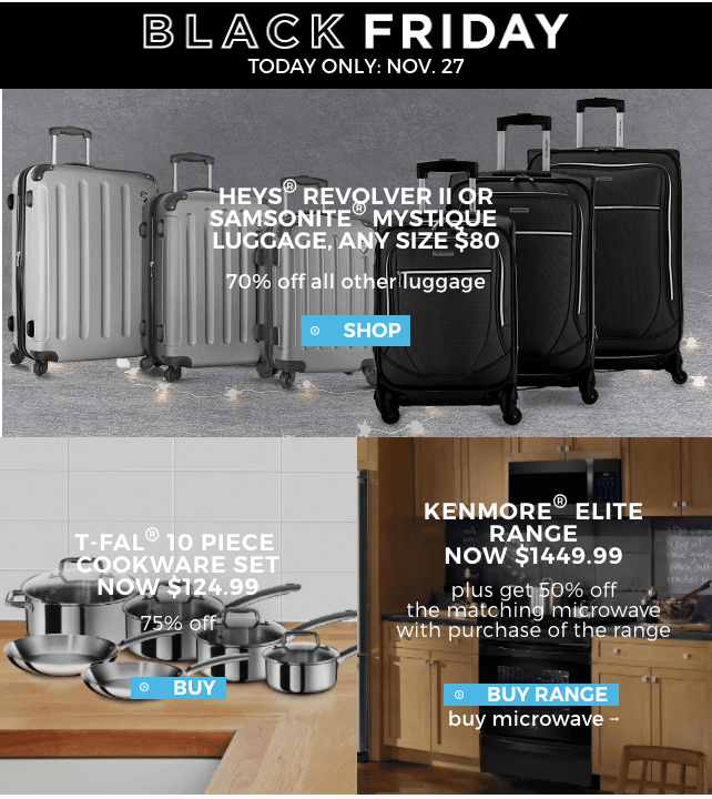 Sears Canada Daily Deals: Save 80% on Samsonite, Heys Luggage, 75% Off T-FAL Cookware Set, 50% on Kenmore Elite Range + More Deals!
