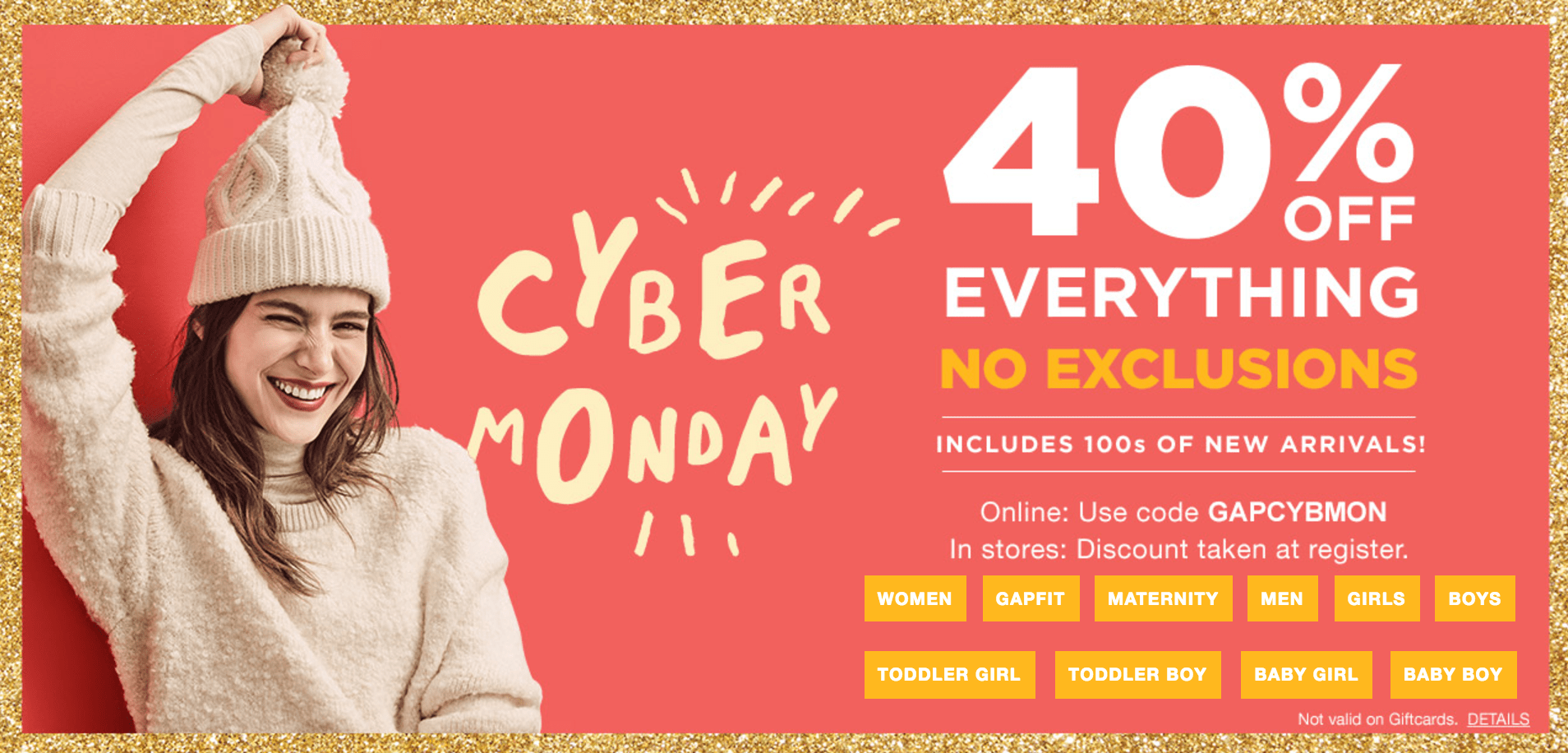 Gap Canada Cyber Monday Starts Now: Save 40% Off Everything, No Exclusions!