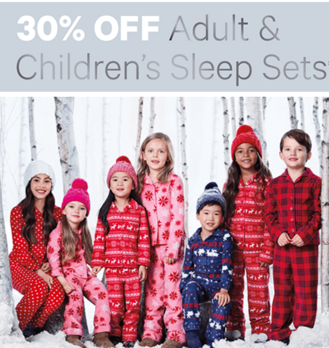 Joe Fresh Canada Sale: Save 30% Off Adult & Children's Sleep Sets