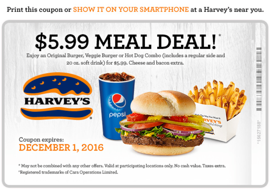 Harvey's Canada Coupons: $5.99 Meal Deal!