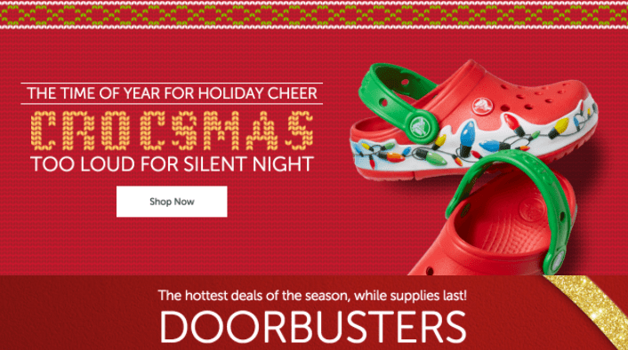 Crocs Canada Online Holiday Deals: FREE Shipping on All $49.99 Orders (instead of $100) + Doorbusters Deals + New Markdowns on Sale Items