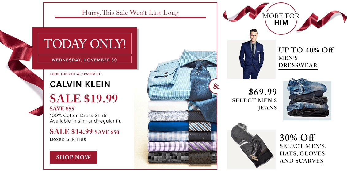 Hudson's Bay Canada Daily Deals: Save 73% Off Calvin Klein Men's Dress Shirts – Today For $19.99 , 77% Off Ties Today For $14.99 & More Offers