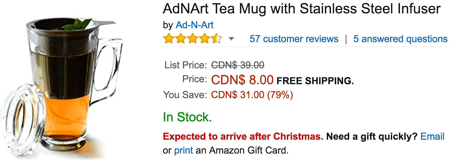 Amazon Canada Deals Of The Day: Save 79% Off AdNArt Tea Mug with Stainless Steel Infuser, Extra 30% Off at Checkout on Select Clothing, Shoes and Accessories & More Deals