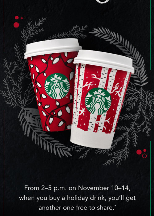 Starbucks Canada Buy One, Get One FREE Holiday Drinks Starts Today! ??????