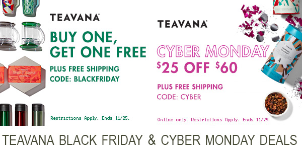 Teavana Black Friday and Cyber Monday Deals 2016