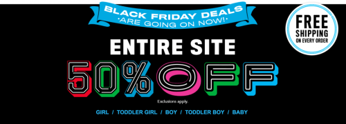 The Children's Place Canada Black Friday 2016 Sale: Save 50% Off Everything + FREE Shipping On Every Order + More Deals! *LIVE*