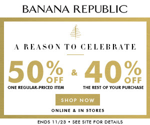 Banana Republic coupon codes provide instant savings during checkout. Enter your account and shipping information first. Then you'll find the entry field on the payment information page. Enter your code and click Apply to have the discount factored into your subtotal. Sometimes you can even add multiple promotions to the same order.