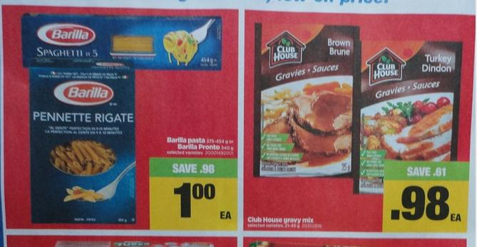 Real Canadian Superstore Ontario: Barilla Pasta Pronto 25 Cents and Club House Gravy 65 Cents After Coupons