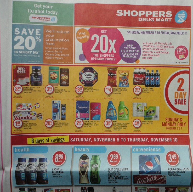 It's a busy week in terms of offers at Shoppers Drug Mart Canada in the upcoming week. From November the 17th to the 22nd, get 20x the PC Optimum points when you spend $75 or more on cosmetics and fragrances. This weekend there is a super as well, with a few pages of deals valid on November 17th & 18th only.
