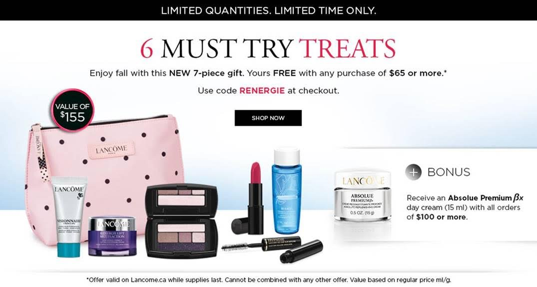 Lancôme Canada Offer: FREE 7-piece Gift with Orders $65