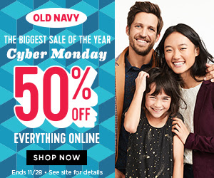 Old Navy Canada Cyber Monday Deals: FREE Shipping on All Purchases + Save 50% Off Everything Today Only