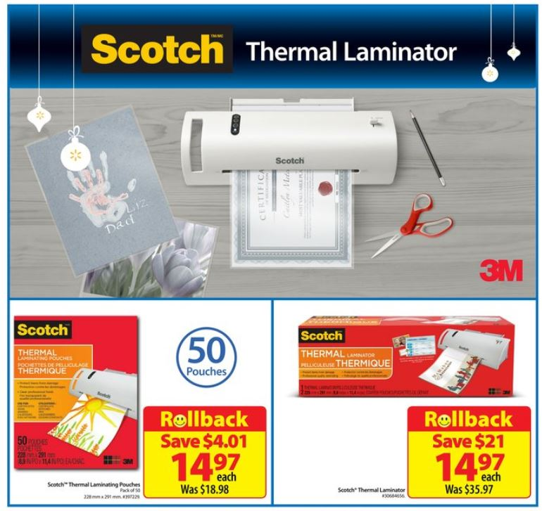 Walmart Canada: Scotch Thermal Laminator or Pouches Only $14.97