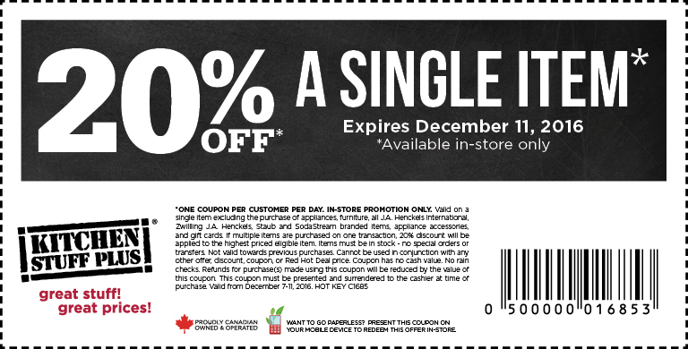 Kitchen Stuff Plus Canada Holiday Coupon: Save 20% Off A Single