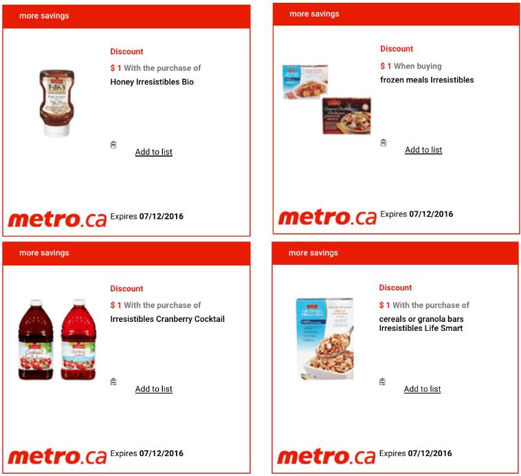 Metro Ontario Canada Exclusive Printable Coupons, December 1 to 7