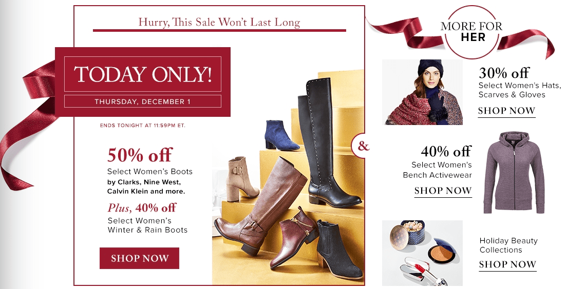 Hudson's Bay Canada Holiday Flash Sale: Save 50% Off Women's Boots by Clarks, Calvin Klein, Naturalizer & More + 40% Off Women's Winter & Rain Boots + More Deals! Today Only