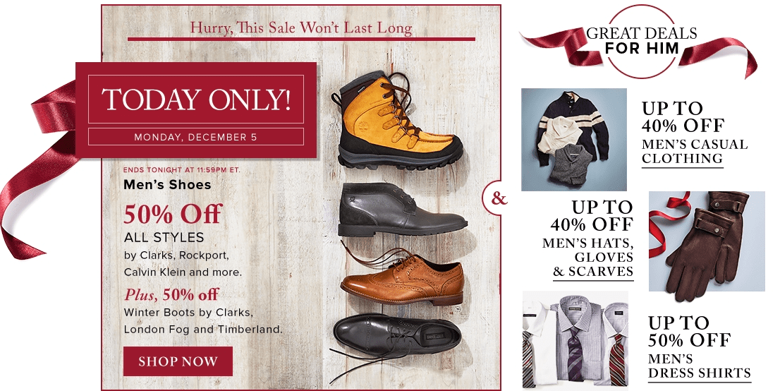 3eef0051f Hudson's Bay Canada Today's Deals: Save 50% Off Men's Shoes & Winter ...