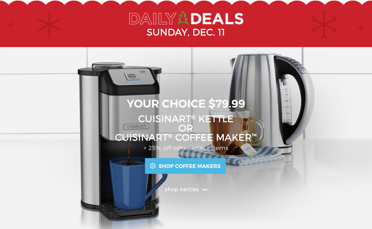 Uncategorized Sears Canada Kitchen Appliances sears canada holiday daily deals cuisinart kettle or coffee maker screen shot 2016 12 11 at 6 25 21 pm everyday until christmas canada