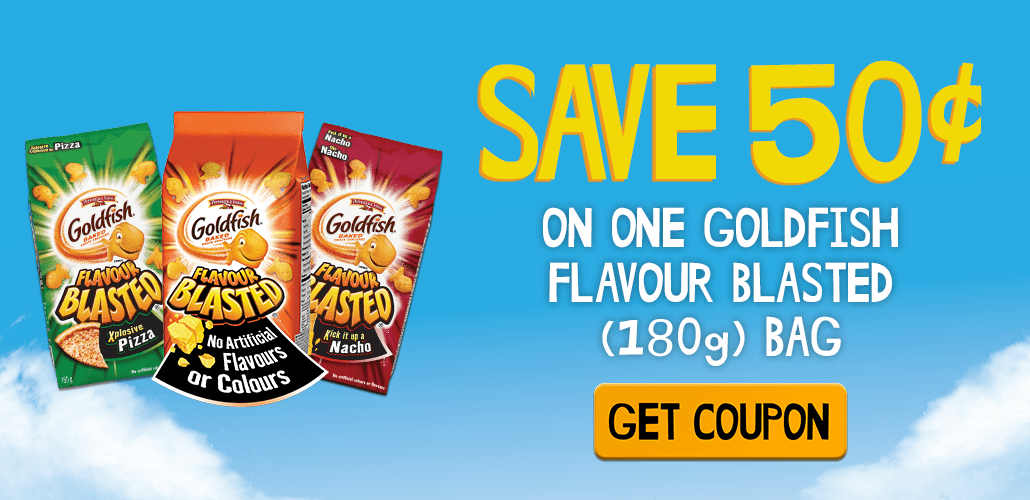photograph about Goldfish Printable Coupons known as Canadian Coupon codes: 50 Cent Goldfish Flavour Blasted Coupon