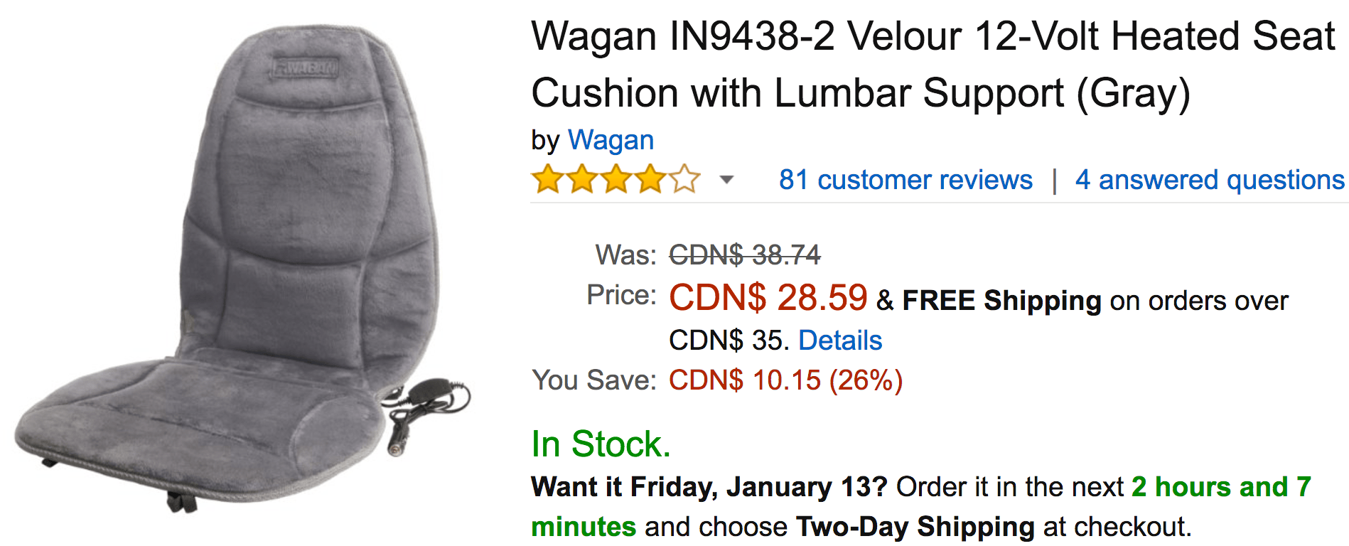 Amazon Canada Today S Deals Save 26 On Wagan Velour 12 Volt Heated