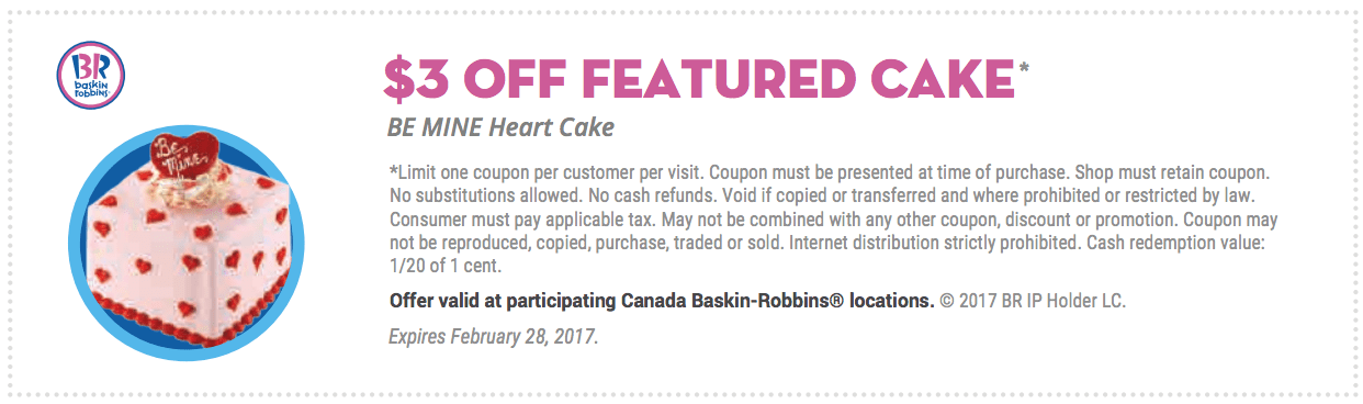 Baskin robbins cake coupons