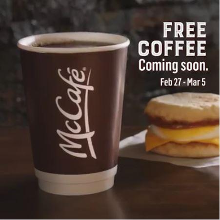 McDonalds Free McCafe Small Coffee Canada