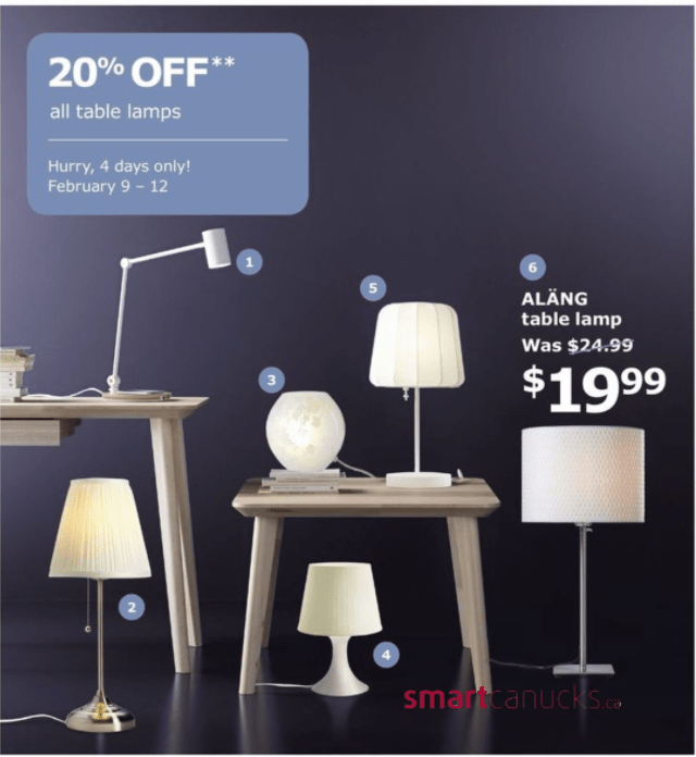 Ikea Canada Promotions Save 20 Off All Table Lamps