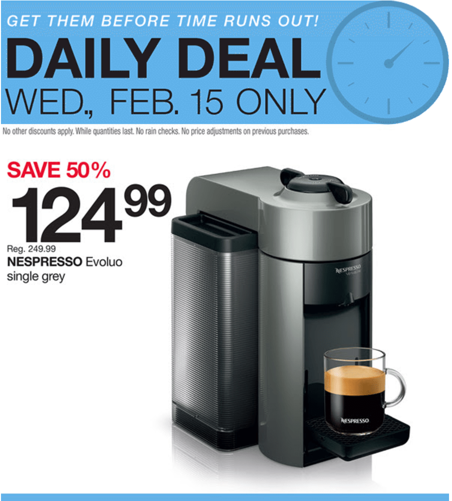 Coffee Makers At Home Outfitters : Home Outfitters Canada Daily Deals: Today Save 50% on Nespresso Evoluo Single Grey & 40% on ...