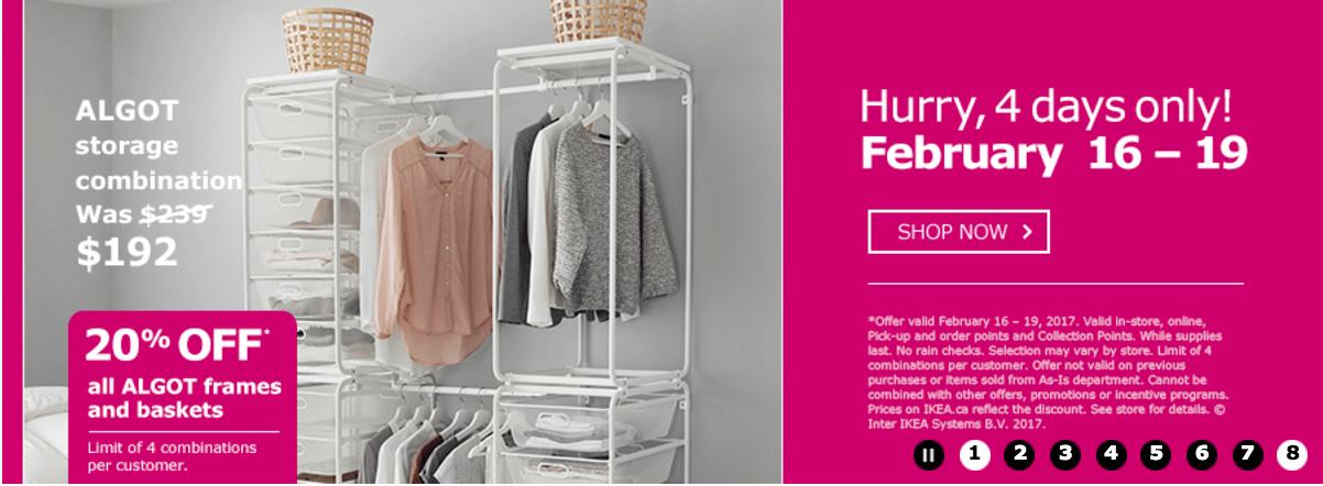 ikea canada 4 days offers save 20 off all algot frame basket storage hot canada deals hot. Black Bedroom Furniture Sets. Home Design Ideas