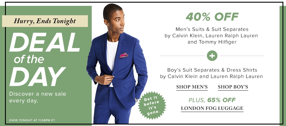 d45d9284 Hudson's Bay Canada Today's Deals: Save 40% Off Men's & Boy's Suits ...