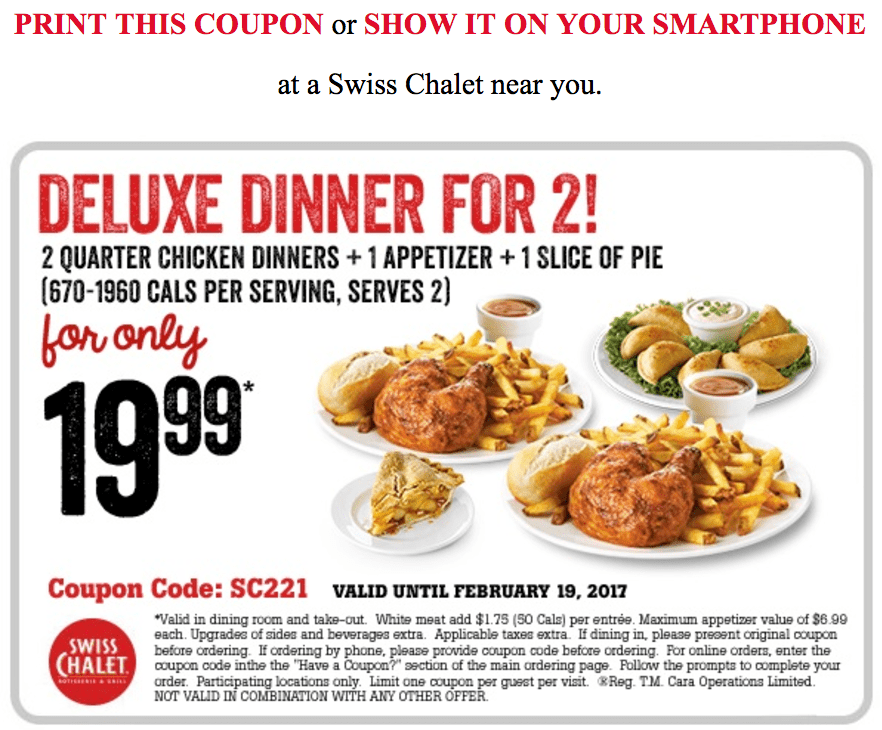 picture relating to Sport Chalet Printable Coupon identify Swiss chalet printable discount codes december 2018 : Mommy will save