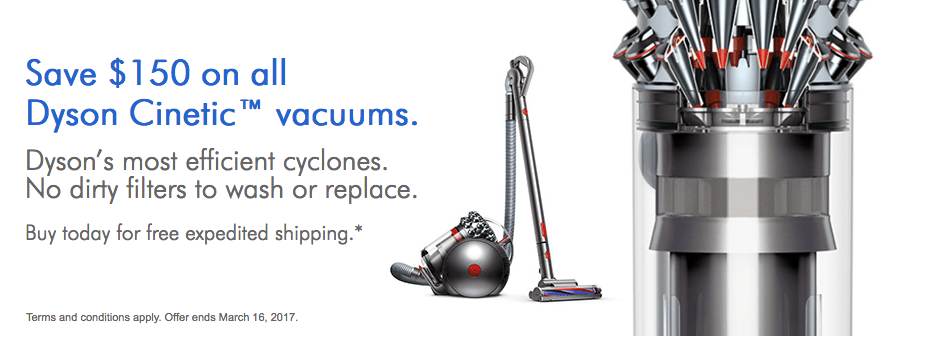 dyson canada sale save 150 on all dyson cinetic vacuums save 80 on v6 mattress canadian. Black Bedroom Furniture Sets. Home Design Ideas