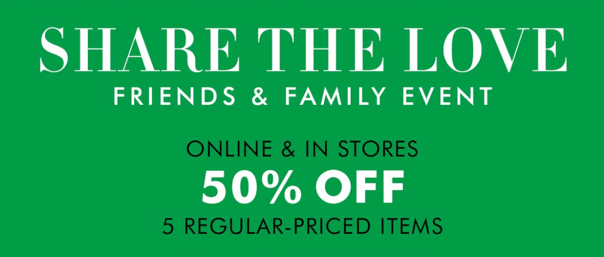 Slickdeals Forums Hot Deals Banana Republic Friends & Family Event 50% off 5 regular priced items with code BRFAMILY. Search This Thread. Advanced Search. First Unread. Forum Thread. Banana Republic Friends & Family Event 50% off 5 regular priced items with code BRFAMILY + 3 Deal Score.