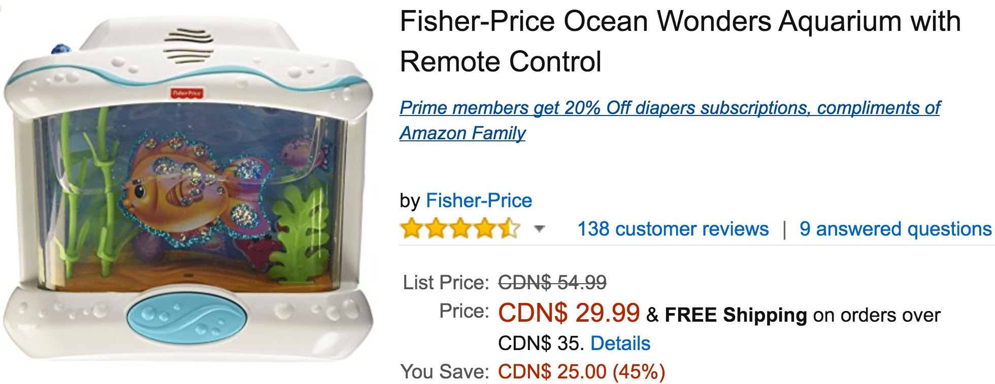 Amazon Canada Deals Save 45 On Fisher Price Ocean