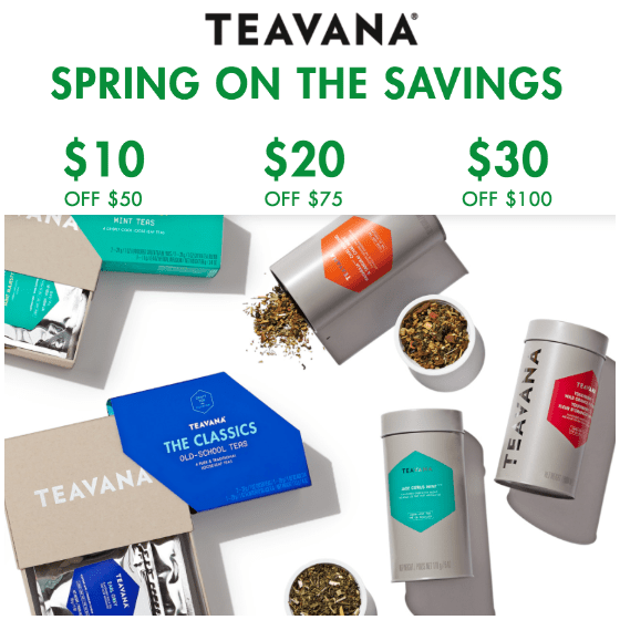 How to use a Teavana coupon It's easy to save money when you buy tea from Teavana. Their website offers free shipping on orders of $50 or more plus a free tea sample. There is also a website that offers dozens of coupon codes for deals at Teavana that give 10% off of any order and $10 off 92%(26).