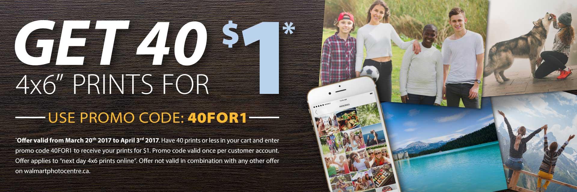 walmart photo centre 40 prints for 1 dollar