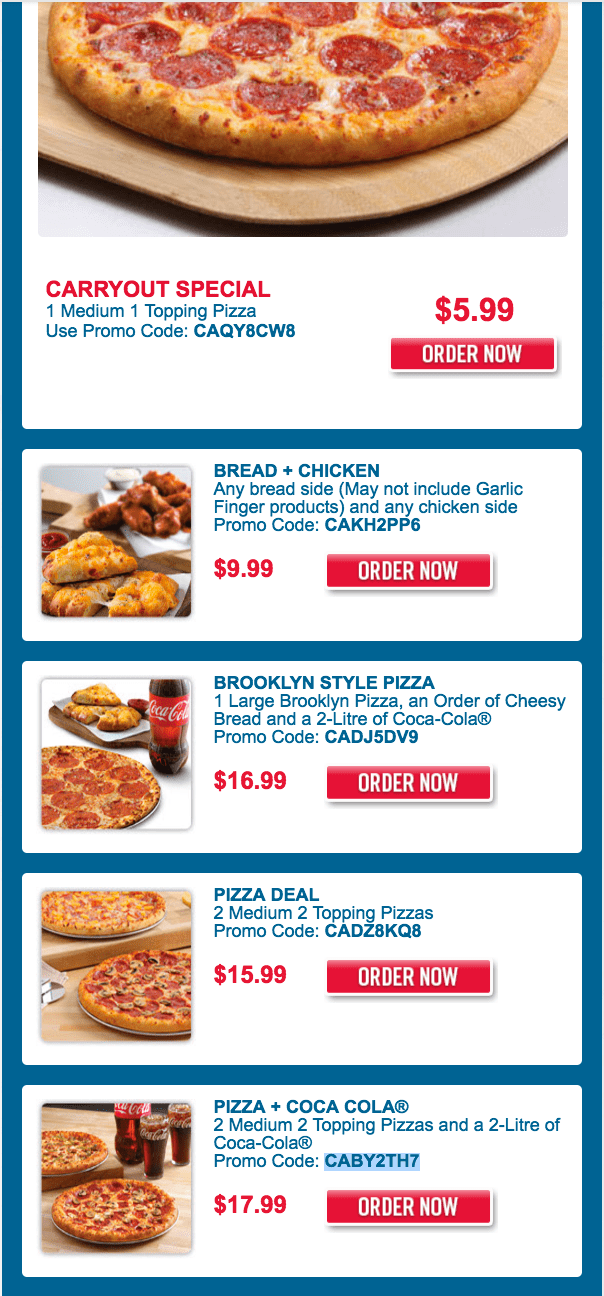 As part of the campaign, Domino's is offering a bundle that includes two medium one-topping pizzas, a piece order of Parmesan Bread Bites, an eight-piece order of Cinnamon Bread Twists, a two-liter of Coca-Cola and a $1 donation to St. Jude, for $