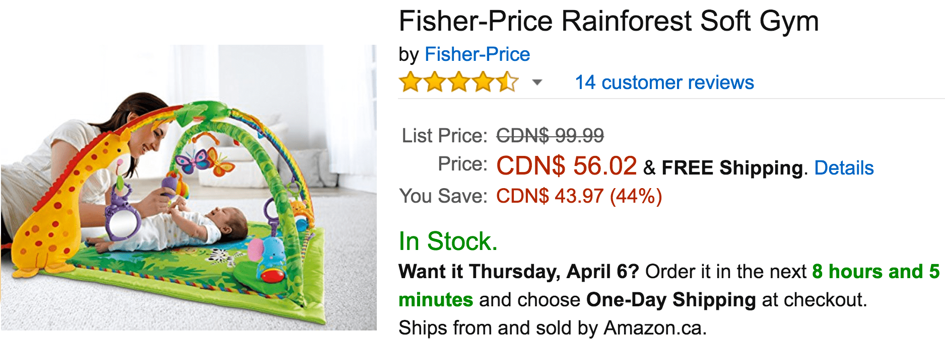 3be2d6261f61 Amazon Canada Deals  Save 43% on Fisher-Price Roarin  Rainforest ...